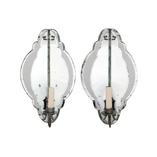 French Mirrored Corner Sconces With Shaped Glass Panels, Ca. 1940 - a Pair For Sale