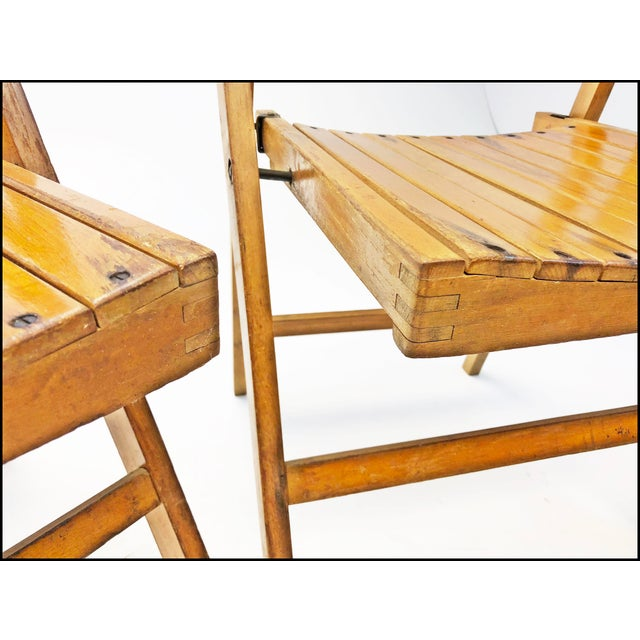Vintage Rustic Slat Wood Folding Chairs - Set of 4 For Sale - Image 11 of 13