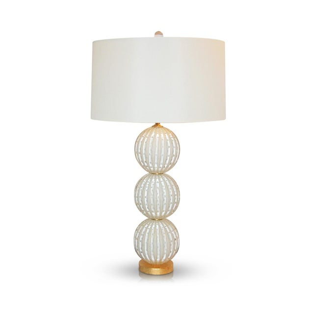 Contemporary Murano Glass Stacked Ball Table Lamps White Gold Bubbles For Sale - Image 3 of 11