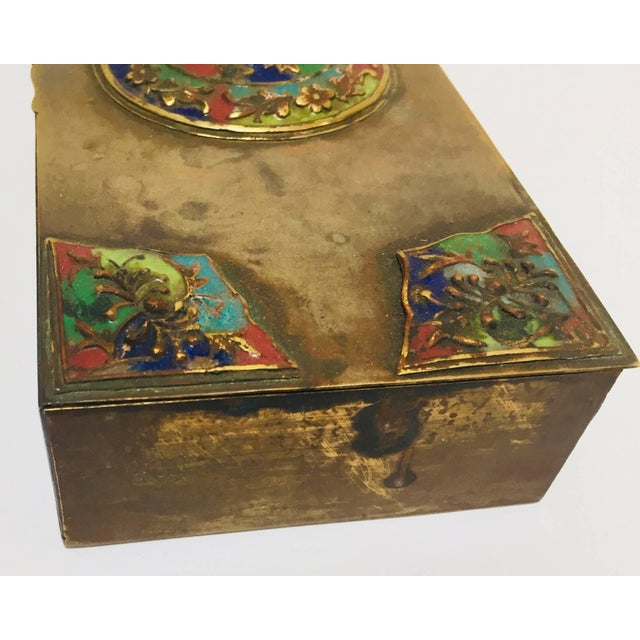 Brass Art Deco Lidded Box With Enameled Decoration For Sale - Image 9 of 13