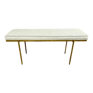 Modern Gold Metal Bench With Box Edge Cushion in Pale Green Velvet For Sale
