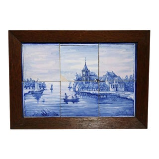 19th Century Framed Blue & White Delft Harbor Scene Tiles For Sale
