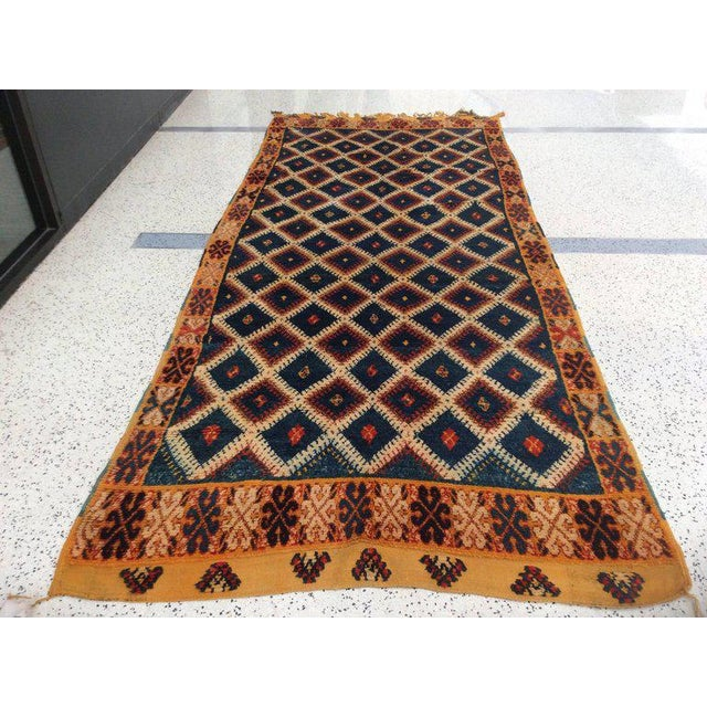 Navy Moroccan Runner - 4′8″ × 11′3″ For Sale - Image 4 of 6