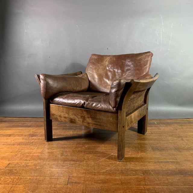 Danish Leather Lounge Chair With French Cane Sides, Late 1970s For Sale - Image 10 of 10