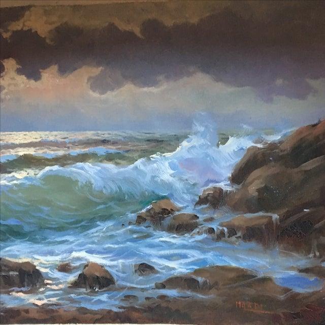 Vintage Large Signed Seascape - Image 5 of 11