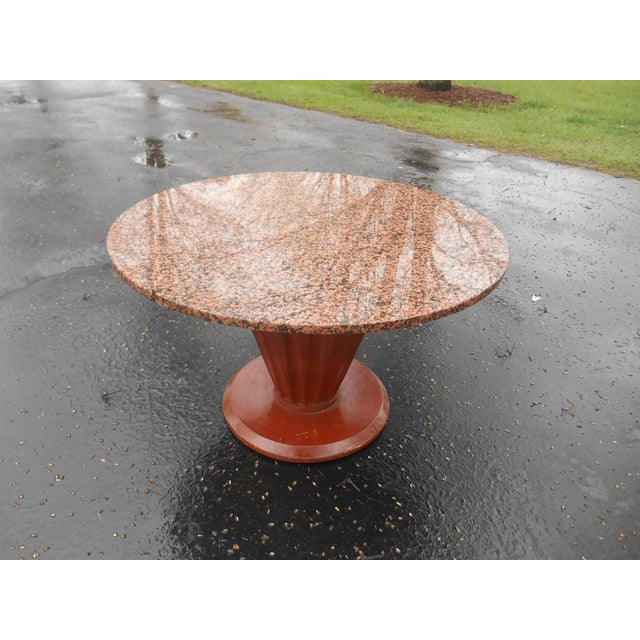 Art Deco 20th Century French Art Deco Round Marble Top Coffee/Cocktail Table For Sale - Image 3 of 7