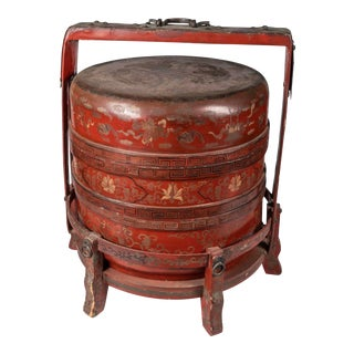 19th Century Handpainted Chinese Lacquer Wood Box For Sale