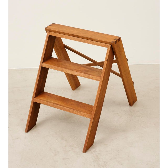Cabinetmaker's Folding Step Ladder in Teak and Brass, Denmark 1940s For Sale - Image 4 of 11