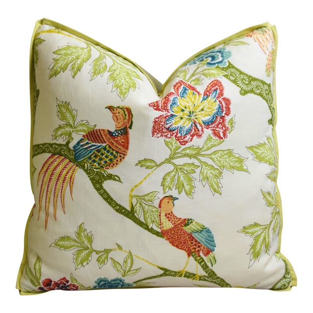 """Schumacher Chinoiserie Linen & Mohair Bird Feather/Down Pillow 21"""" Square For Sale"""