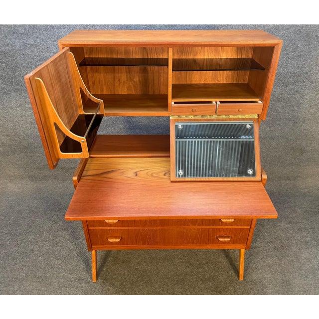 Mid-Century Modern Vintage Danish Mid Century Modern Teak and Oak Secretary Desk Vanity For Sale - Image 3 of 11