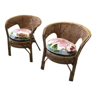 Wicker Chairs With Flower Cushions - a Pair For Sale