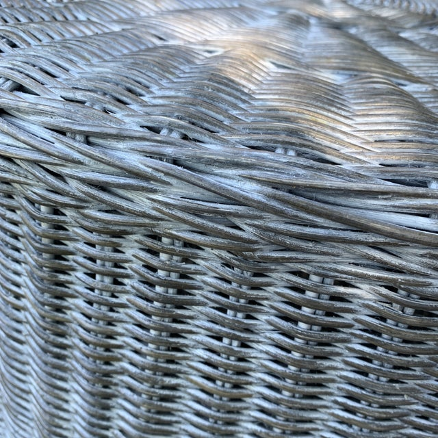 2010s Trompe l'Oeil Round Top Draped Grey Rattan Side Table For Sale - Image 5 of 12