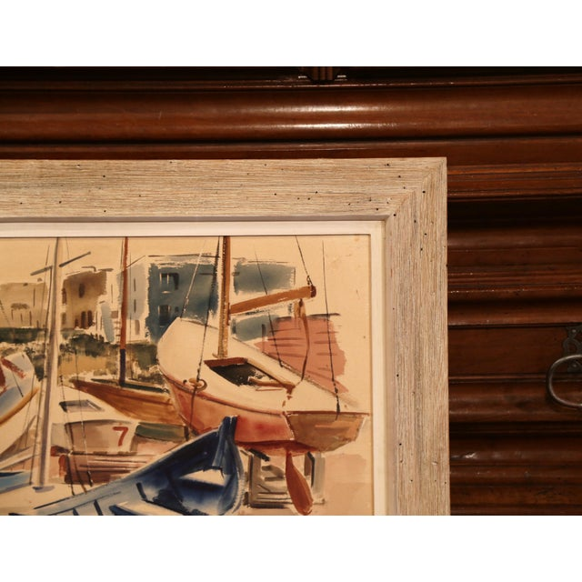 1940s Mid-Century English Boat Oil on Board Painting Signed JC Wright For Sale - Image 5 of 8