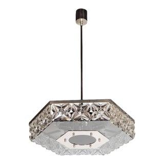 Mid-Century Modernist Faceted Crystal Hexagonal Chandelier by Kinkeldey For Sale