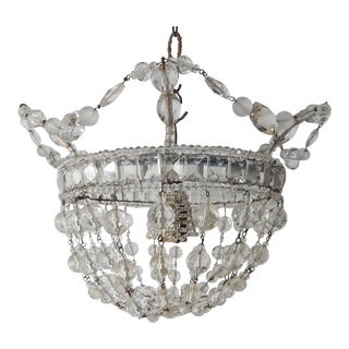 1920 French Maison Baguès Style Beaded Mirror Flush Mount Chandelier For Sale