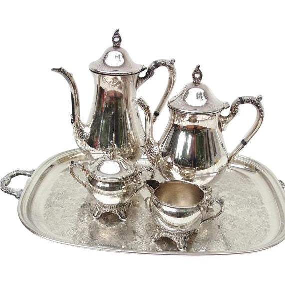 Tea Coffee Set 6 Pc Silver Plate Tea Service - Image 1 of 6