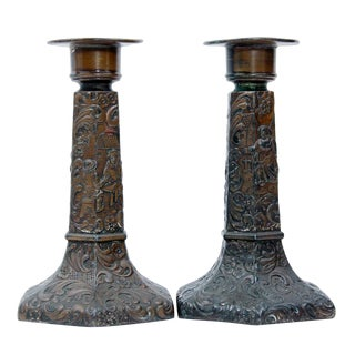 Early 1900s Repousse Copper Plated Candlesticks - a Pair For Sale