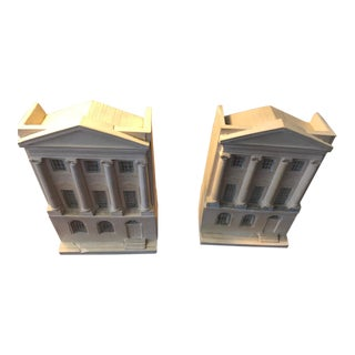 1990s Vintage Bisque Lichfield House Bookends- A Pair For Sale