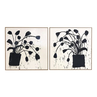"Pair of Abstract Paintings, ""Botanical, 221"" by John O'Hara - 37""x37"" Each Board For Sale"