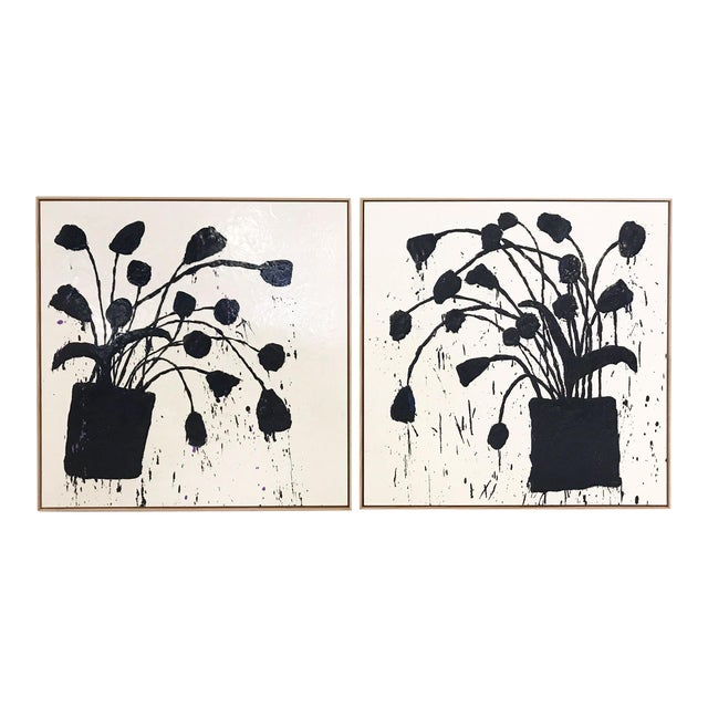"""Pair of Abstract Paintings, """"Botanical, 221"""" by John O'Hara - 37""""x37"""" Each Board For Sale"""