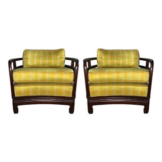 1960s Vintage Custom Made Yellow & Rosewood Chairs- A Pair For Sale