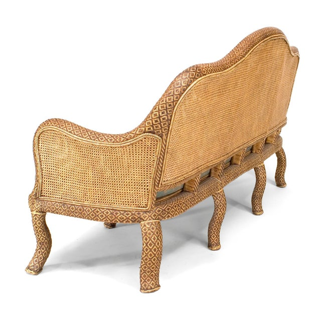 English 'Anglo-Indian Style' Natural Wicker Settee For Sale - Image 4 of 6