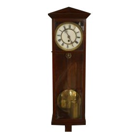 19th Century American Victorian Style Mahogany Wall Clock For Sale