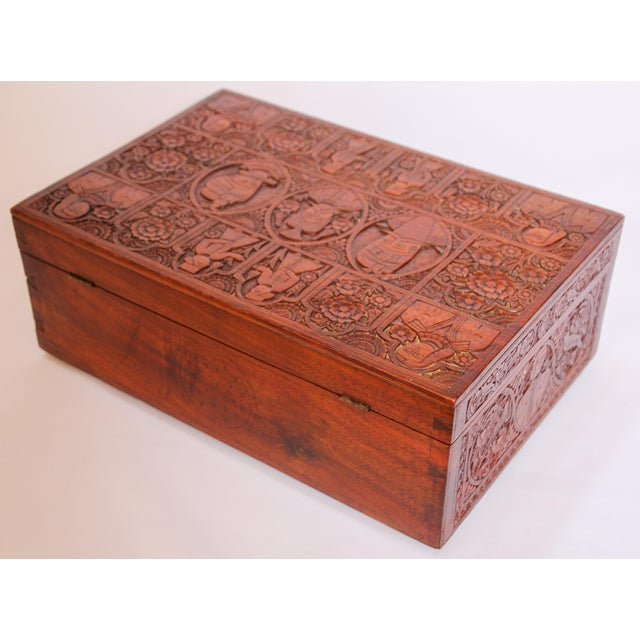 Large Early 19th Century Antique Hand Carved Wooden Decorative Box For Sale - Image 11 of 13