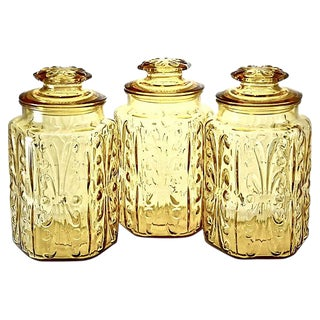 1950s Vintage Amber Glass Jars - Set of 3 For Sale