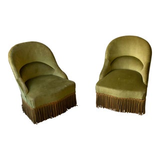 Pair of Napoleon III Green Velvet Slipper Chairs For Sale