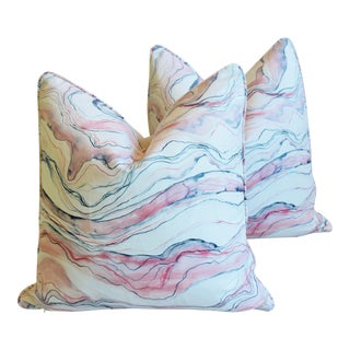 "Modern Blush-Pink Marbleized Feather/Down Pillows 22"" Square - Pair For Sale"