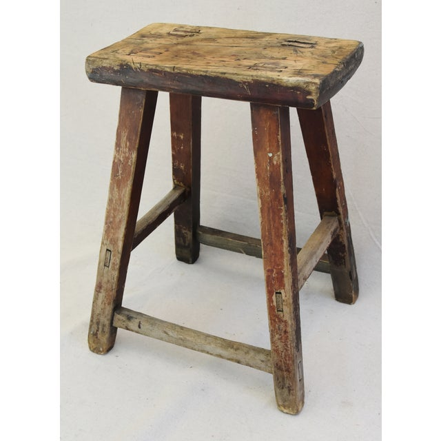 Rustic Primitive Country Wood Farmhouse Stool - Image 10 of 11