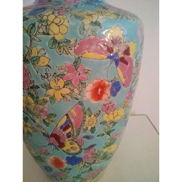 1920's Vintage Chinese Turquoise Famille Rose Vase For Sale - Image 4 of 7