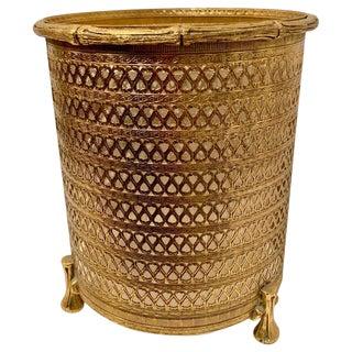 Italian Filagree Brass Waste Bin With Liner For Sale