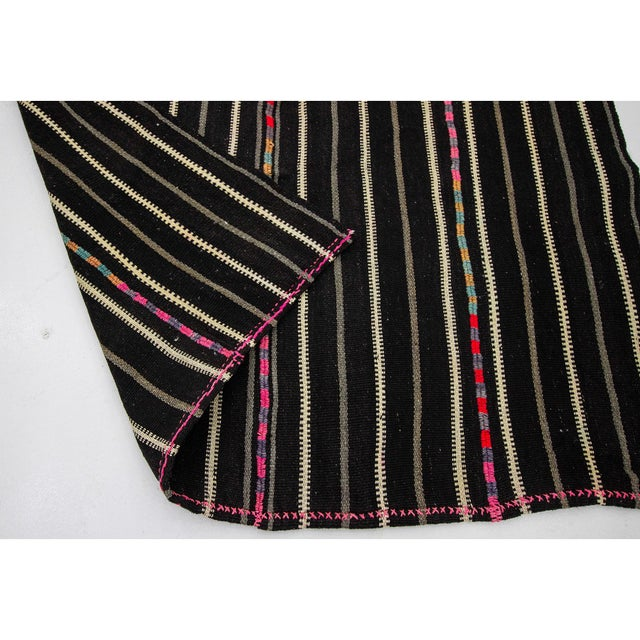 1960s 1960s Vintage Striped Black Kilim Rug- 4′9″ × 8′2″ For Sale - Image 5 of 7