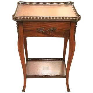 Rich Theodore Alexander Wood and Leather Side Table For Sale