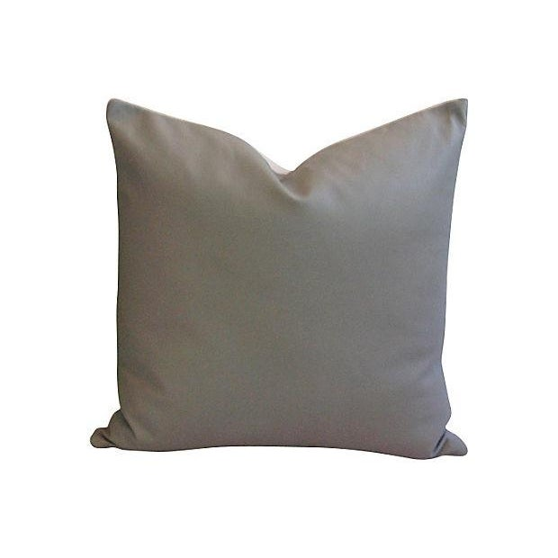 Custom Tailored Italian Gray Leather Feather/Down Pillows - Pair - Image 7 of 7