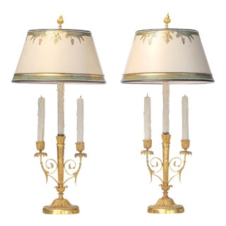 19th C. French Doré Bronze Candle Lamps - a Pair For Sale