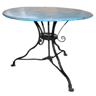 Vintage Blue and Black Iron Cafe Table For Sale