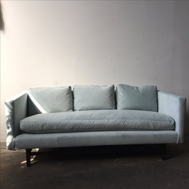 Mid-Century Rosewood Sofa in Mint Microsuede - Image 2 of 10