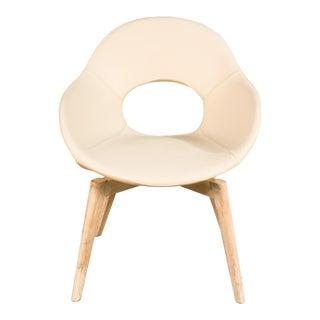 Contemporary Oak/Ivory Leather Side Chair For Sale