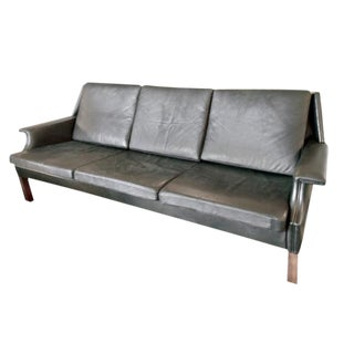 Swedish Black Leather Sofa For Sale