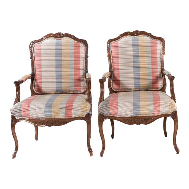 French Louis XV Style Carved Open Armchairs - A Pair For Sale