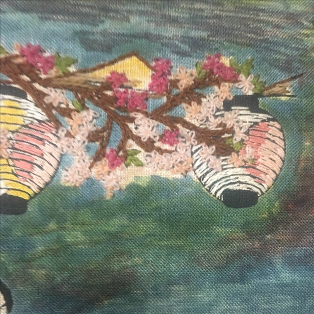 Asian Watercolor & Needlepoint Artwork - Image 7 of 8