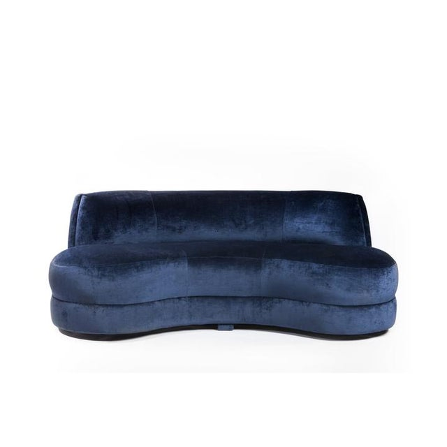 "By Gallerie Noir Collection Midnight blue velvet curved settee 75""w x 44""d x 16""h (seat height) 30""h (back height)"