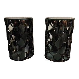 Mid-Century Modern Charcoal Metal & Smoked Glass End Tables - A Pair