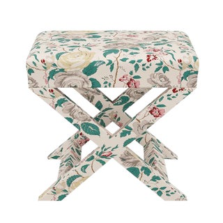 X Bench in Taupe Chintz For Sale