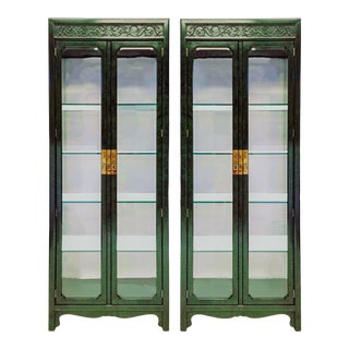 1970s Faux Malachite Asian Style Mirrored Cabinets by Henredon -A Pair