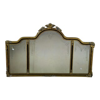 Queen Anne Giltwood Ebony Triptych Wall Mirror For Sale