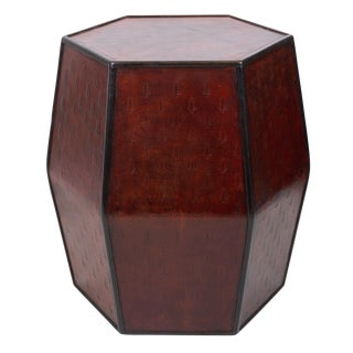 20th Century Traditional Sarreid Leather Hexagonal Side Table For Sale